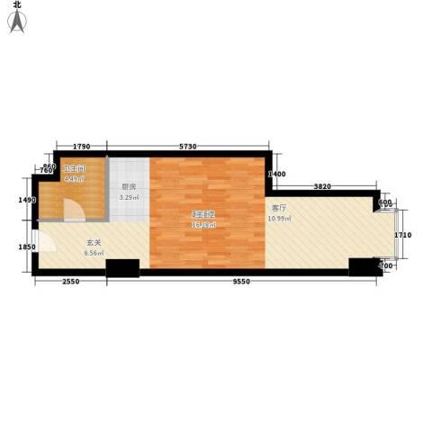 万隆国际中心1卫0厨60.00㎡户型图