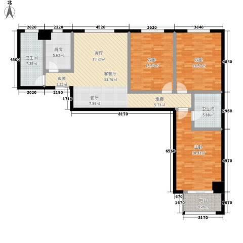 蒲公英国际广场3室1厅2卫1厨124.07㎡户型图