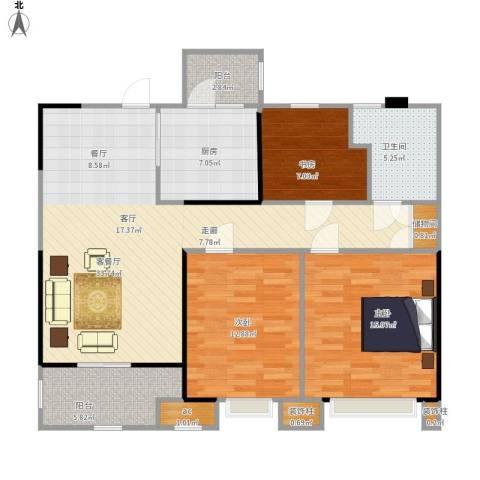 中海寰宇天下3室1厅1卫1厨125.00㎡户型图