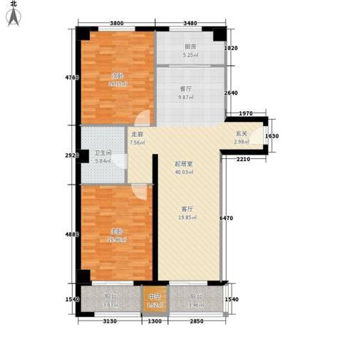蒲公英国际广场2室0厅1卫1厨104.30㎡户型图
