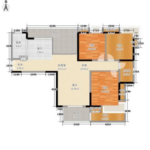 光大花园榕岸3室0厅1卫1厨129.00㎡户型图