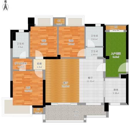 万科柏悦湾3室1厅2卫1厨133.00㎡户型图