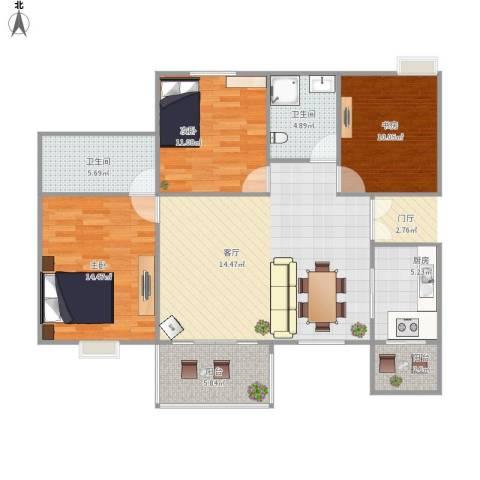 峰度天下3室1厅2卫1厨119.00㎡户型图