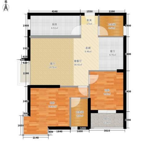 华城国际2室1厅2卫1厨99.00㎡户型图