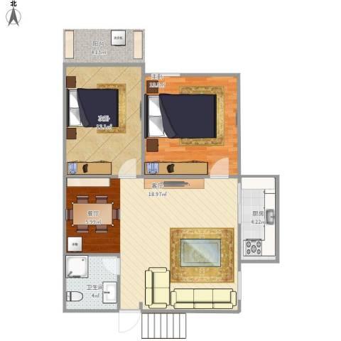 外贸新村2室1厅1卫1厨84.00㎡户型图