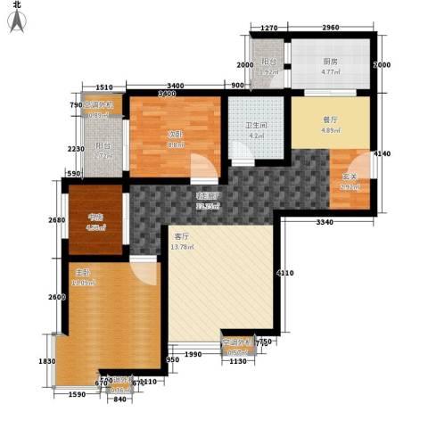 君悦华府3室1厅1卫1厨111.00㎡户型图