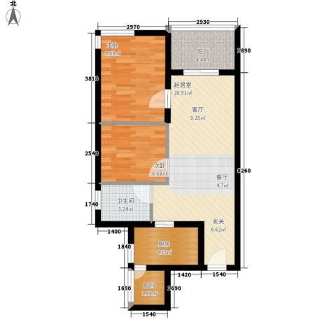 祈福水城2室0厅1卫1厨69.00㎡户型图