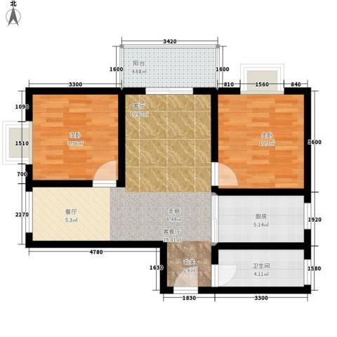 万华园丽景华都2室1厅1卫1厨92.00㎡户型图