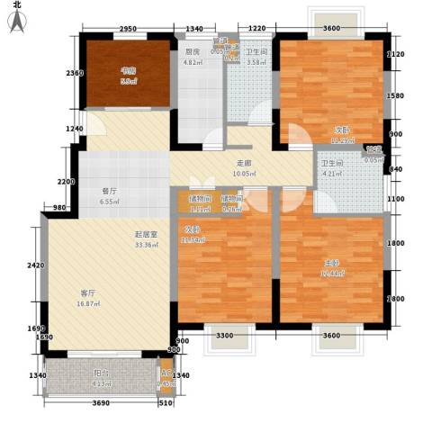 润・花园4室0厅2卫1厨121.00㎡户型图