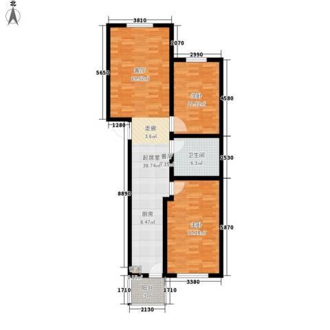 东港龙城2室0厅1卫0厨88.00㎡户型图