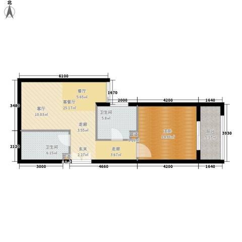 东方星苑1室1厅2卫0厨58.00㎡户型图