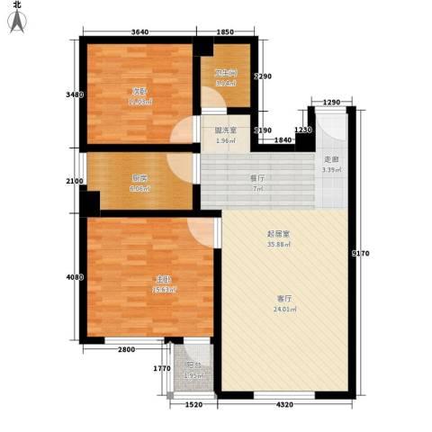 东港龙城2室0厅1卫1厨84.00㎡户型图