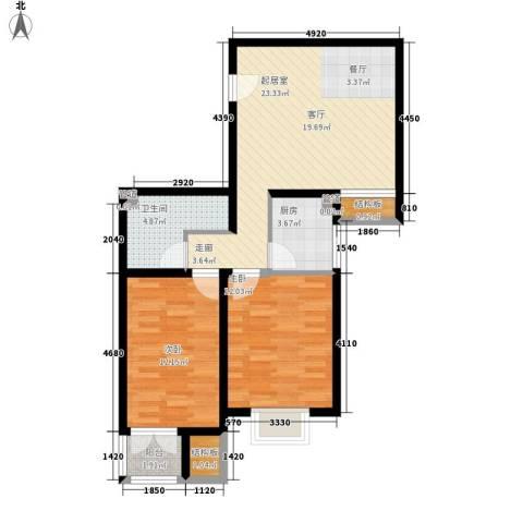 海澳公馆2室0厅1卫1厨79.00㎡户型图