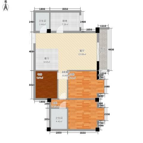 金地园3室0厅2卫1厨125.00㎡户型图
