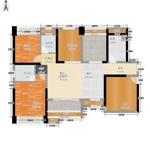 葡萄庄园左岸2室0厅2卫1厨107.71㎡户型图