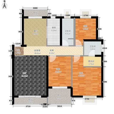 中新城小区3室0厅2卫1厨112.00㎡户型图