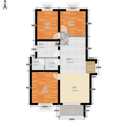 东尚观湖3室1厅2卫1厨116.00㎡户型图