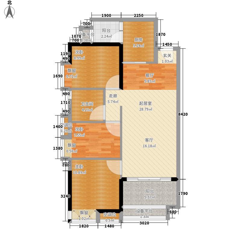 岭南雅筑92.00㎡4/5栋02户型3室2厅