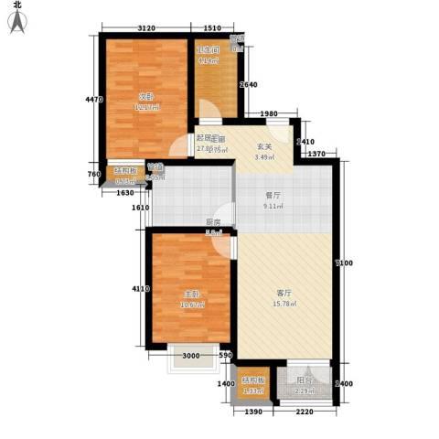海澳公馆2室0厅1卫1厨85.00㎡户型图