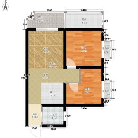 凯悦华庭2室1厅1卫1厨80.00㎡户型图