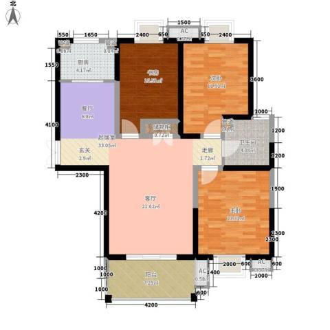 曲江观邸3室0厅1卫1厨118.00㎡户型图