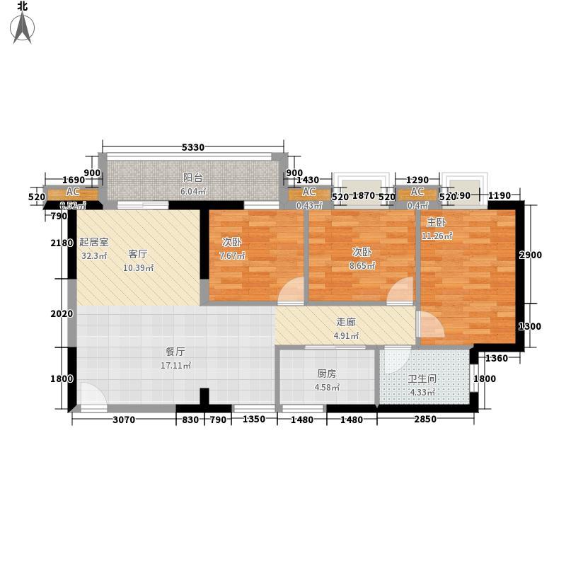 双城61.25㎡一期1-3#楼A10面积6125m户型
