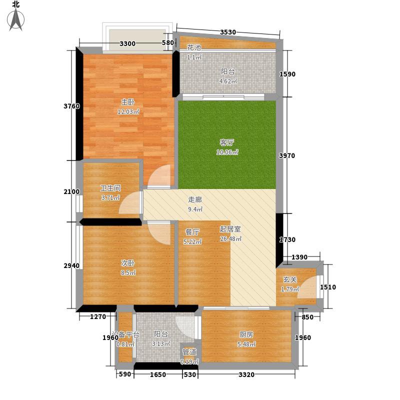 佳大银湾74.19㎡A3栋05单位面积7419m户型