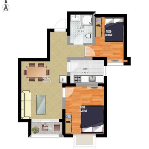 旭辉澜郡2室1厅1卫1厨76.00㎡户型图