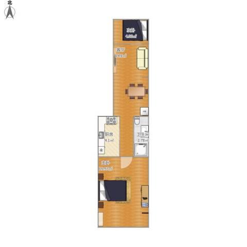 杨庄北区2室1厅1卫1厨55.00㎡户型图