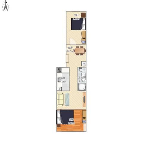 杨庄北区2室1厅1卫1厨54.00㎡户型图