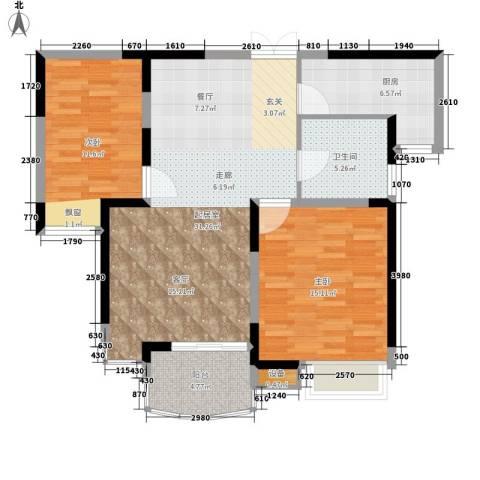 明日新苑2室0厅1卫1厨106.00㎡户型图