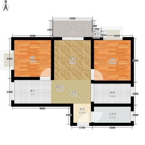 凯悦华庭2室1厅1卫1厨92.00㎡户型图