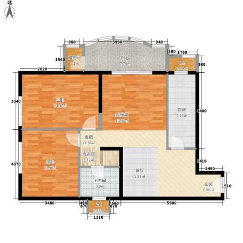 保利金泉2室0厅1卫1厨93.08㎡户型图