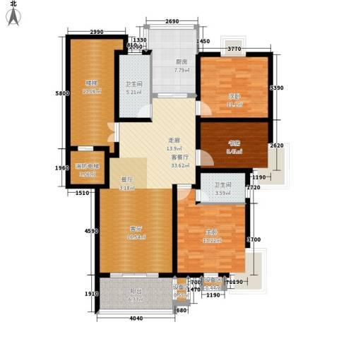 四季阳光花园3室1厅2卫1厨123.00㎡户型图