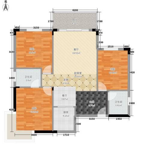 长安新世纪宜居3室0厅2卫1厨92.00㎡户型图