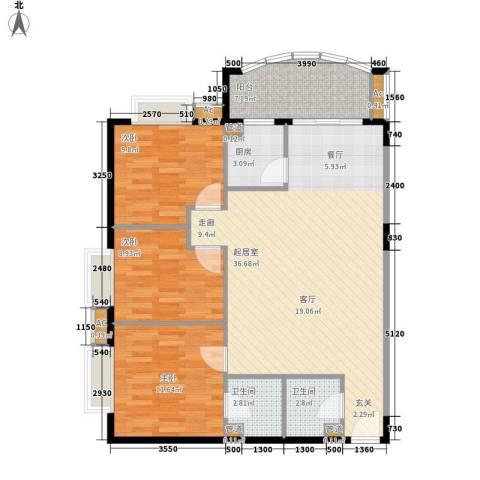 益鹏翠苑3室0厅2卫1厨126.00㎡户型图
