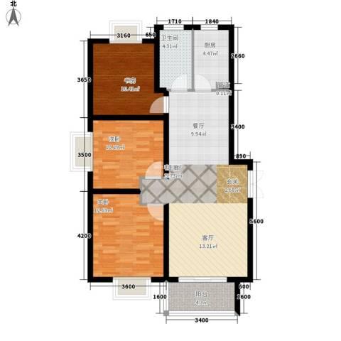 东尚观湖3室1厅1卫1厨113.00㎡户型图