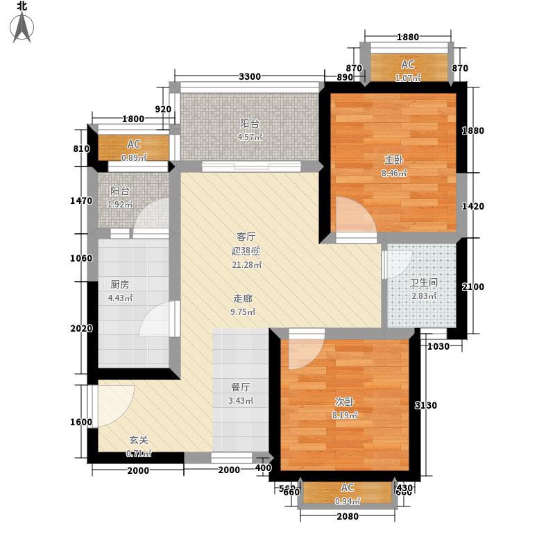 博亚兹·澜铂湾65.60㎡标准间B户型2室2厅