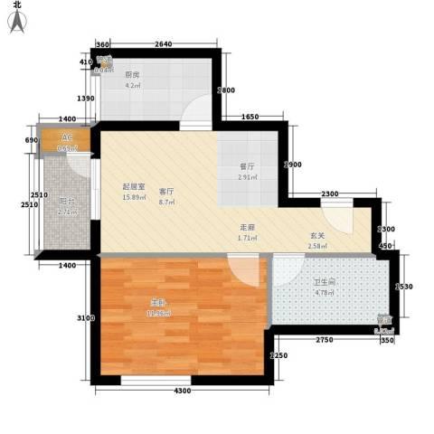 崇立苑1室0厅1卫1厨59.00㎡户型图