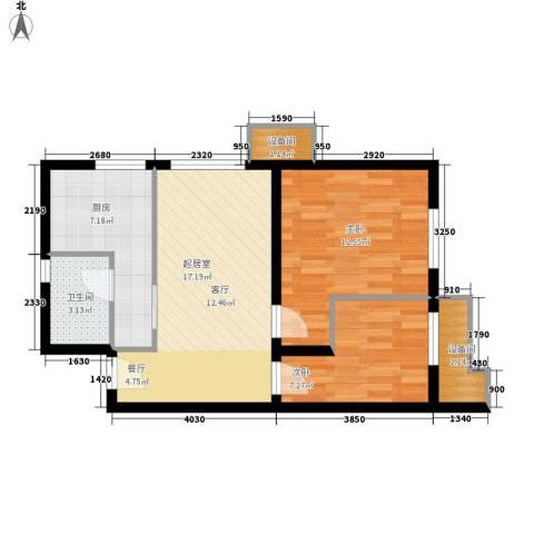 马驹桥保障性住房项目2室0厅1卫1厨58.00㎡户型图