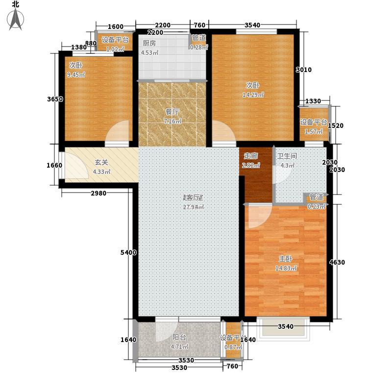 万和城111.00㎡7号楼B2户型3室2厅