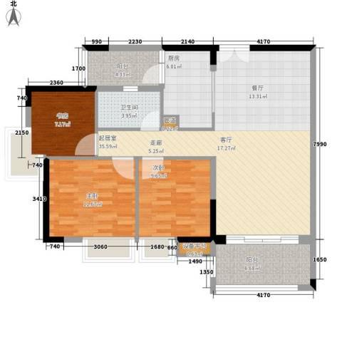 云山诗意3室0厅1卫1厨98.00㎡户型图