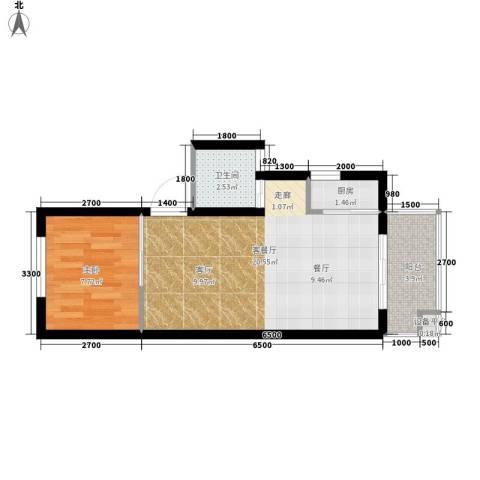 凯悦华庭1室1厅1卫1厨56.00㎡户型图