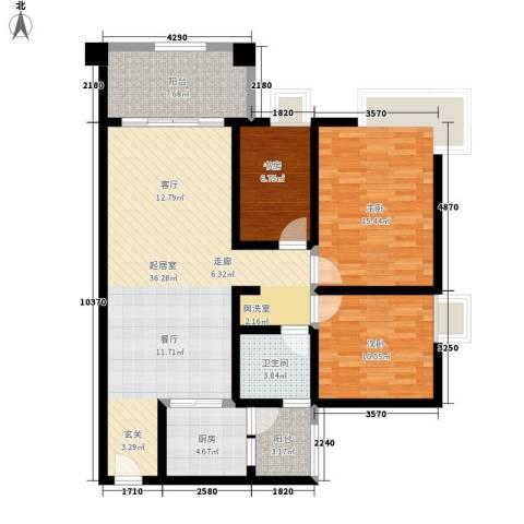 美林湖畔3室0厅1卫1厨102.00㎡户型图