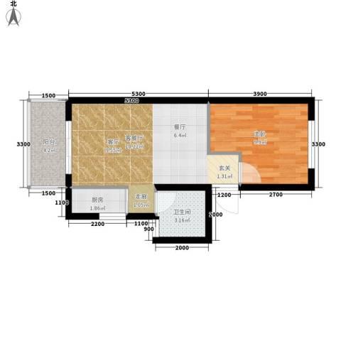 凯悦华庭1室1厅1卫1厨58.00㎡户型图