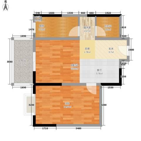 爱情公寓1室0厅1卫1厨66.00㎡户型图