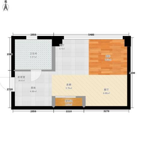 长庚老年公寓二期万华1卫0厨44.00㎡户型图