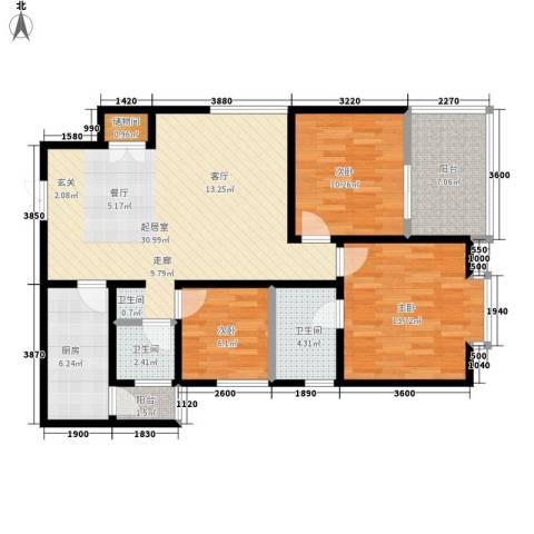 太和公园人家3室0厅2卫1厨106.00㎡户型图