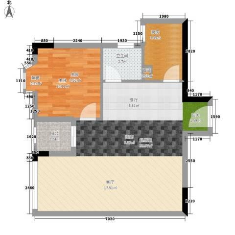 荔尚国际1室0厅1卫1厨60.00㎡户型图