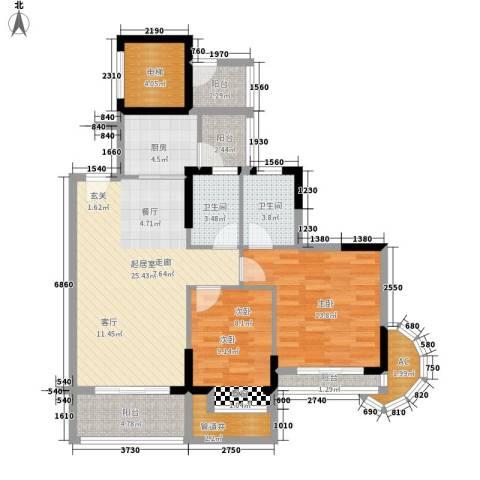 金竹家园2室0厅2卫1厨91.00㎡户型图